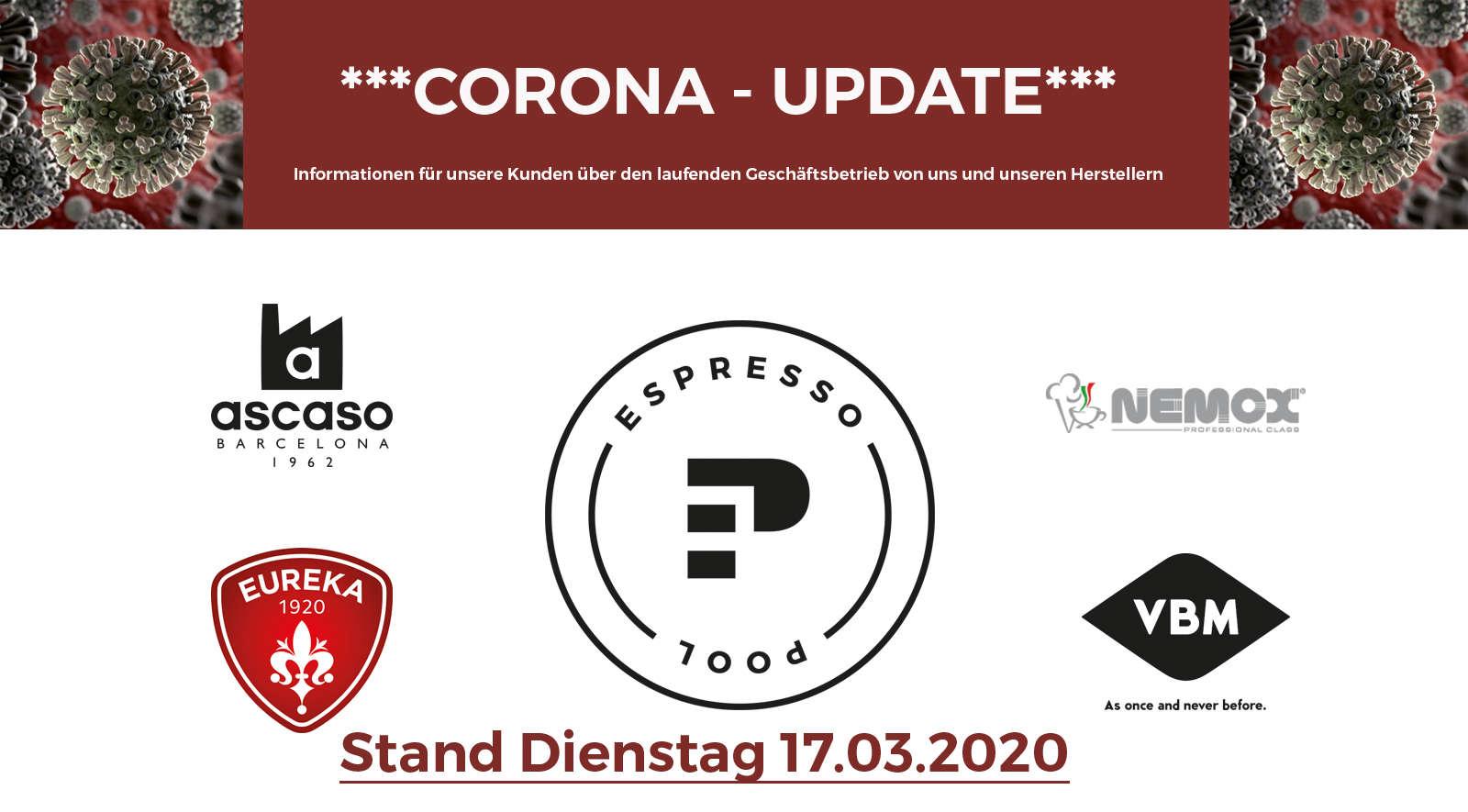 Corona und die Folgen für unseren Geschäftsbetrieb